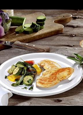 poulet-auf-teller-mit-zucchini-peperoni